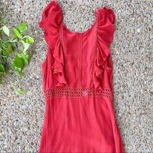 rush Dresses - Rush Red Crochet Ruffle Maxi Dress Small